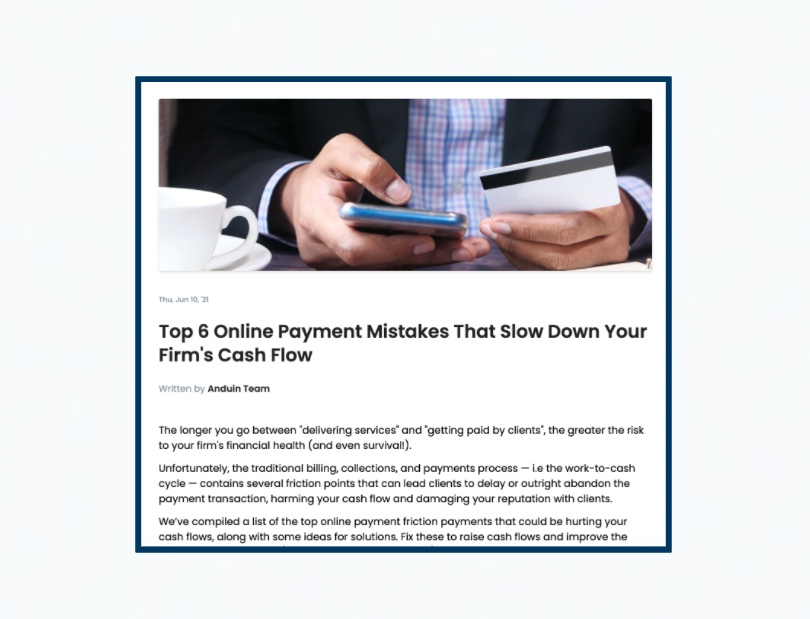 6 Online Payment Mistakes That Slow Down Your Firms Cash Flow